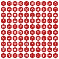 100 love icons hexagon red