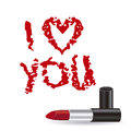 Love icons illustration of text illustrations made with lipstick vector illustration Royalty Free Stock Images