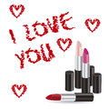 Love icons illustration of text illustrations made with lipstick vector illustration Stock Photos