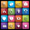 Love icons set in flat style. Royalty Free Stock Photo