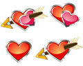 Love icons set of four glossy emblems of with hearts and arrows Stock Photography