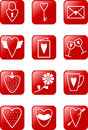 Love icons set of red isons on theme Stock Image