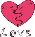 Love illustration of sketchy cute heart Royalty Free Stock Photography