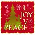 Love Joy Peace Christmas Card With Tree and Snow 2