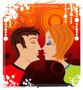 Love kiss teenagers Stock Photo