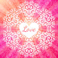 Love lacy ornate pink vector card napkin Royalty Free Stock Photography