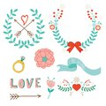 Love laurels beautiful collection of and symbols Stock Photography