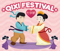 In Love Legendary Couple Commemorating Traditional Qixi Festival, Vector Illustration Royalty Free Stock Photo