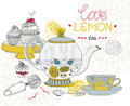 Love lemon tea card beautiful handdrawn illustration Royalty Free Stock Photo