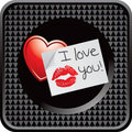 Love letter on black checkered web button Stock Images