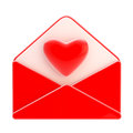 Love letter emblem as red envelope with heart a inside isolated on white Royalty Free Stock Photography