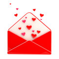 Love letter emblem as red envelope with hearts Stock Photography