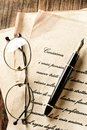 Love letter with fountain pen - vintage effect Royalty Free Stock Photo