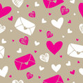 Love letter and hearts seamless pattern background vector illustration Stock Image