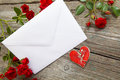 Love letter i you heart and roses Stock Image