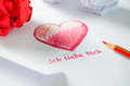 Love letter ich liebe dich a in german language Stock Photo