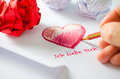 Love letter ich liebe dich hand writing a in german language Royalty Free Stock Photos