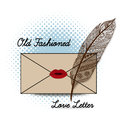 Love letter old fashioned handwritten sealed with a kiss Royalty Free Stock Photography