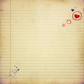 Love letter paper with hearts grunge illustration Stock Images