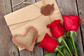 Love letter, red roses and heart Royalty Free Stock Photo