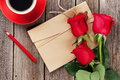 Love letter and red roses Royalty Free Stock Photo