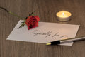 Love Letter with a Rose & Candle Royalty Free Stock Photo