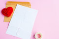 Love letter torn with red hearts Royalty Free Stock Photo