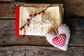 Love letters photo of old and heart shape decoration Royalty Free Stock Photography