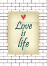 Love is life quote poster effects poster frame colors background and colors text are happy valentines card Stock Image