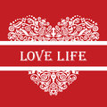 Love life white detailed heart ornament on red Royalty Free Stock Photo
