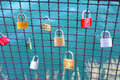 Love locks are on a bridge railing Stock Images