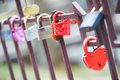 Love locks decorated lock as a symbol of relationship faithfulness Stock Photography