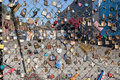 Love locks in london attached to a fence shoreditch uk are a symbol of for young couples Stock Photo