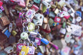 Love locks many on the bridge in korea a symbol of eternal friendship and romance Stock Images