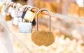 Love locks in noen nangphaya view point chanthaburi of thailand Stock Photography