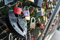 Love locks put on a bridge in the austrian city of graz as a sign of and compassion Stock Images