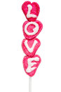 Love lolly made from marzipan for valentine s day Stock Photos