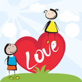 Love loving kids with big heart Royalty Free Stock Photo