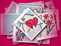 Love message collage with hearts on red background Stock Photo