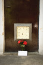 Love message and red roses with time clock in front of doorway concept Stock Image