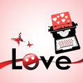 Love messages abstract colorful background with typing machine writing letters and the word written on the lower side of the image Stock Images