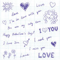Love messages and doodles Royalty Free Stock Image
