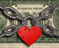 We love money - heart lock and money Stock Image