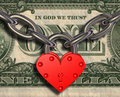We love money - heart lock and money Royalty Free Stock Photography