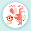 Love monsters funny in with congratulations on a light background Royalty Free Stock Images
