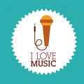 Love music design over blue background vector illustration Royalty Free Stock Photos