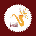 Love music design over brown background vector illustration Royalty Free Stock Photos