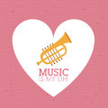 Love music design over dotted background vector illustration Stock Photos