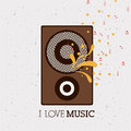 Love music design over pattern background vector illustration Royalty Free Stock Photo