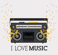 Love music design over pattern background vector illustration Stock Image